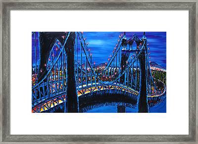 Blue Night Of St. Johns Bridge 12 Framed Print by Portland Art Creations