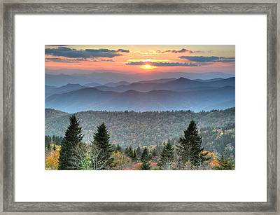 Blue Ridge Mountains Sunset Framed Print by Mary Anne Baker