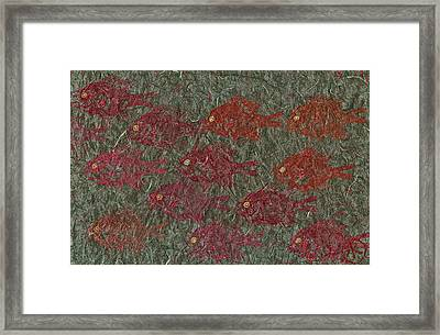 Bluegills On Charcoal Unryu Paper Framed Print by Jeffrey Canha