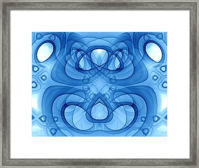 Aikido - Harmony - Blue Abstract Fractal Art Framed Print