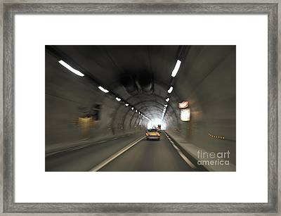 Blurred Motion In A Road Tunnel Framed Print by Sami Sarkis