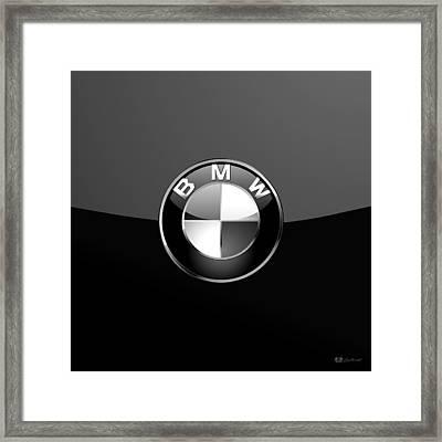 B M W - Silver 3 D Badge On Black Framed Print