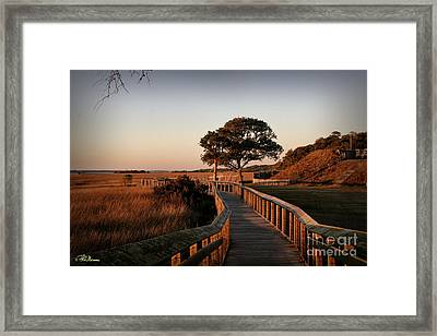 Boardwalk At Fort Fisher Framed Print by Phil Mancuso