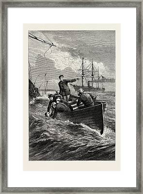 Boat Of The Deerhound Rescuing Captain Semmes Framed Print by American School