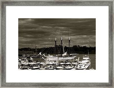 Boat On The River Framed Print by Jocelyne Choquette