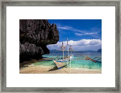 Boat On Tropical Beach Framed Print by Fototrav Print