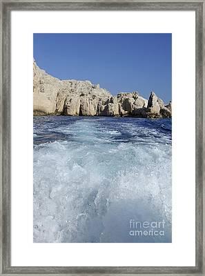 Boat Wake By Riou Island Framed Print by Sami Sarkis
