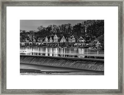 Boathouse Row Bw Framed Print by Susan Candelario