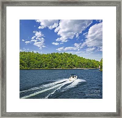 Boating On Lake Framed Print by Elena Elisseeva