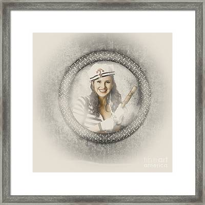 Boating Pin-up Woman On Nautical Shipping Voyage Framed Print by Jorgo Photography - Wall Art Gallery