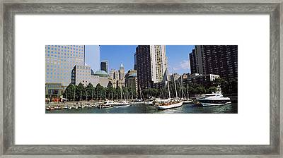 Boats At North Cove Yacht Harbor, New Framed Print