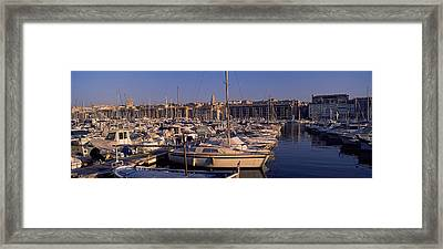 Boats Docked At A Harbor, Marseille Framed Print by Panoramic Images