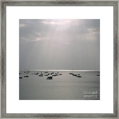 Boats In The Sea. Normandy. France. Europe Framed Print by Bernard Jaubert