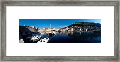 Boats In The Sea, Old City, Dubrovnik Framed Print by Panoramic Images