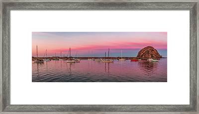 Boats Moored At A Harbor, Morro Bay Framed Print