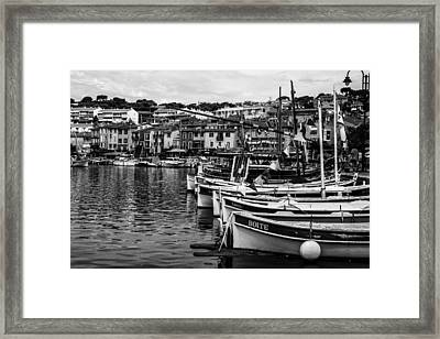 South Of France Harbor In Mono Framed Print by Georgia Fowler