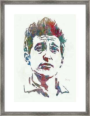 Bob Dylan - Stylised Etching Pop Art Poster Framed Print by Kim Wang