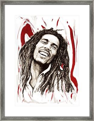 Bob Marley Colour Drawing Art Poster Framed Print