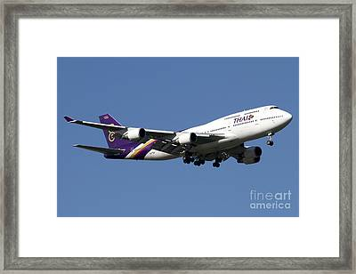 Boeing 747-400 Of Thai International Framed Print by Luca Nicolotti