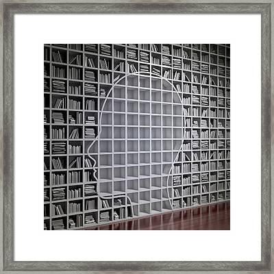Bookshelf With The Shape Of Human Head Framed Print by Andrzej Wojcicki