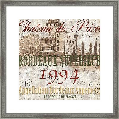 Bordeaux Blanc Label 2 Framed Print by Debbie DeWitt