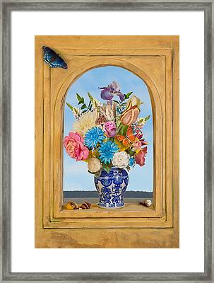 Bosschaert - Flower Bouquet In Chinese Jar Framed Print by Levin Rodriguez
