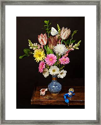 Bosschaert - Flower Bouquet In Chinese Pot Framed Print by Levin Rodriguez