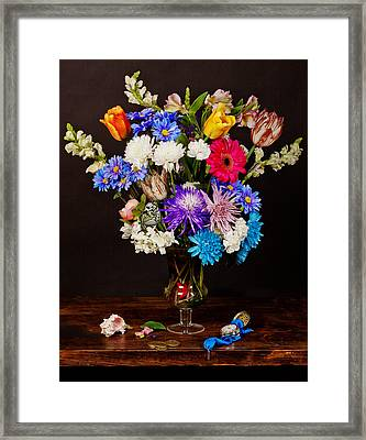 Framed Print featuring the photograph Bosschaert - Flowers In Glass Vase by Levin Rodriguez