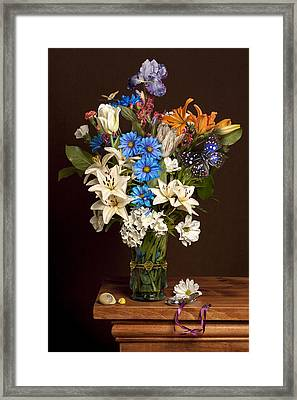 Bosschaert -flower Bouquet In Vase With Watch Framed Print by Levin Rodriguez
