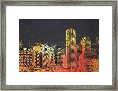 Boston City Skyline Framed Print
