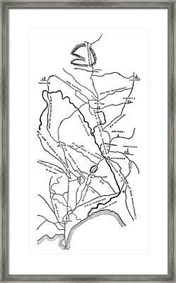 Boston-concord Map, 1775 Framed Print