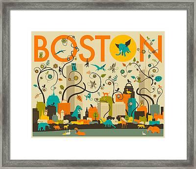 Boston Skyline Framed Print by Jazzberry Blue
