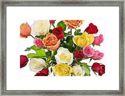 Bouquet Of Roses From Above Framed Print