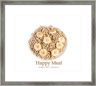 Bowl Of Toasted Oats Cereal Framed Print