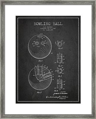Bowling Ball Patent Drawing From 1949 Framed Print