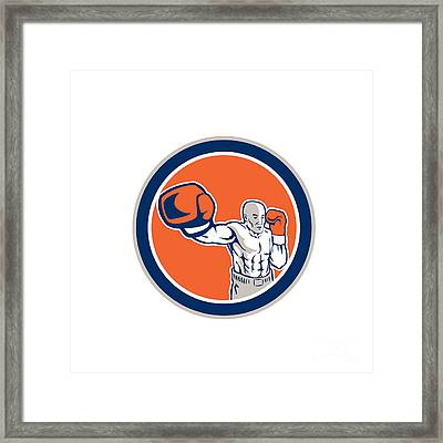 Boxer Boxing Punching Jabbing Circle Retro Framed Print