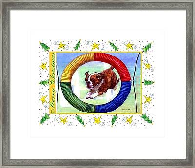 Boxer Dog Christmas Framed Print by Olde Time  Mercantile