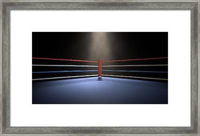 Boxing Corner Spotlit Dark Framed Print