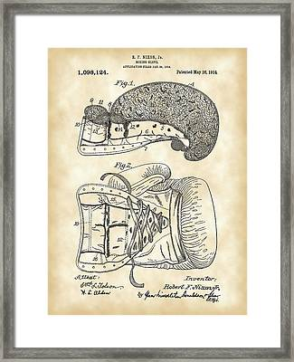 Boxing Glove Patent 1914 - Vintage Framed Print by Stephen Younts