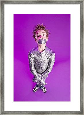 Boy Bound By Duct Tape Framed Print