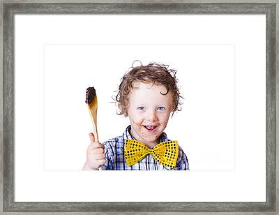 Boy Messing With Food Framed Print by Jorgo Photography - Wall Art Gallery