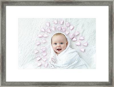 Boy With Hearts Around Head Framed Print by Ruth Jenkinson