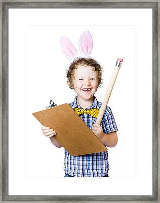 Boy Writing Easter List Framed Print by Jorgo Photography - Wall Art Gallery
