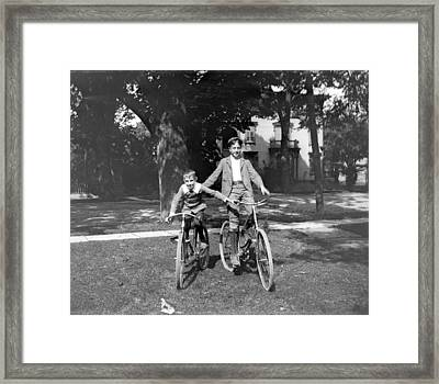 Boys And Bikes Framed Print