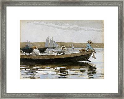 Boys In A Dory Framed Print by Celestial Images