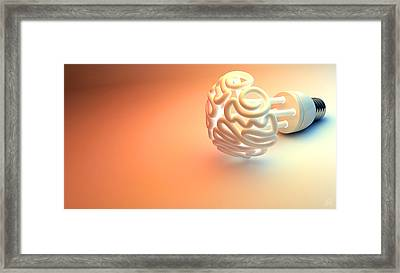 Brain Flourescent Light Bulb Framed Print by Allan Swart