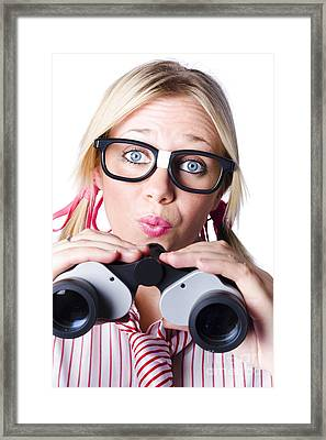 Brainy Businesswoman Looking To Future Development Framed Print