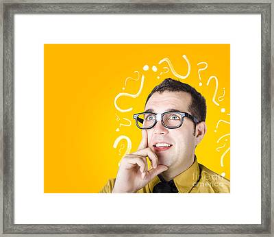 Brainy Man Puzzle Solving On Question Background Framed Print by Jorgo Photography - Wall Art Gallery