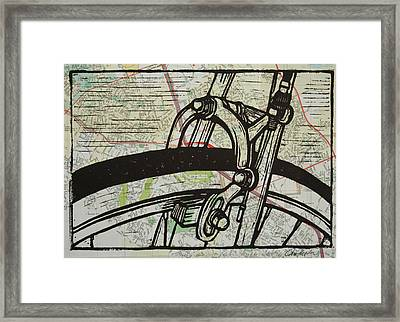 Brake On Map Framed Print by William Cauthern