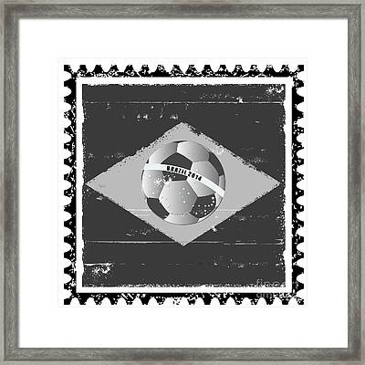 Brazil Flag Like Stamp In Grunge Style Framed Print by Michal Boubin